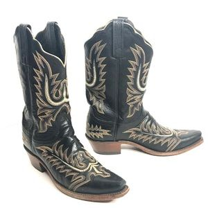 Women's Lucchese Cowboy Boots Black Leather Size 9